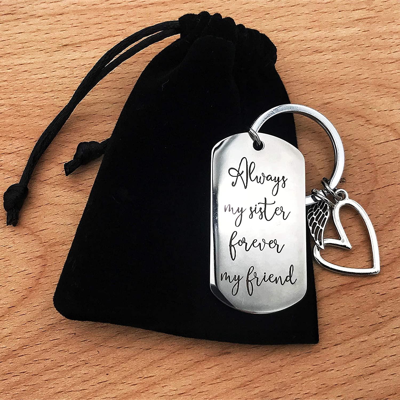 Always my sister forever my friend keychain, Friendship Key chain for Women Teen Girls best friend Birthday Graduation Christmas gift