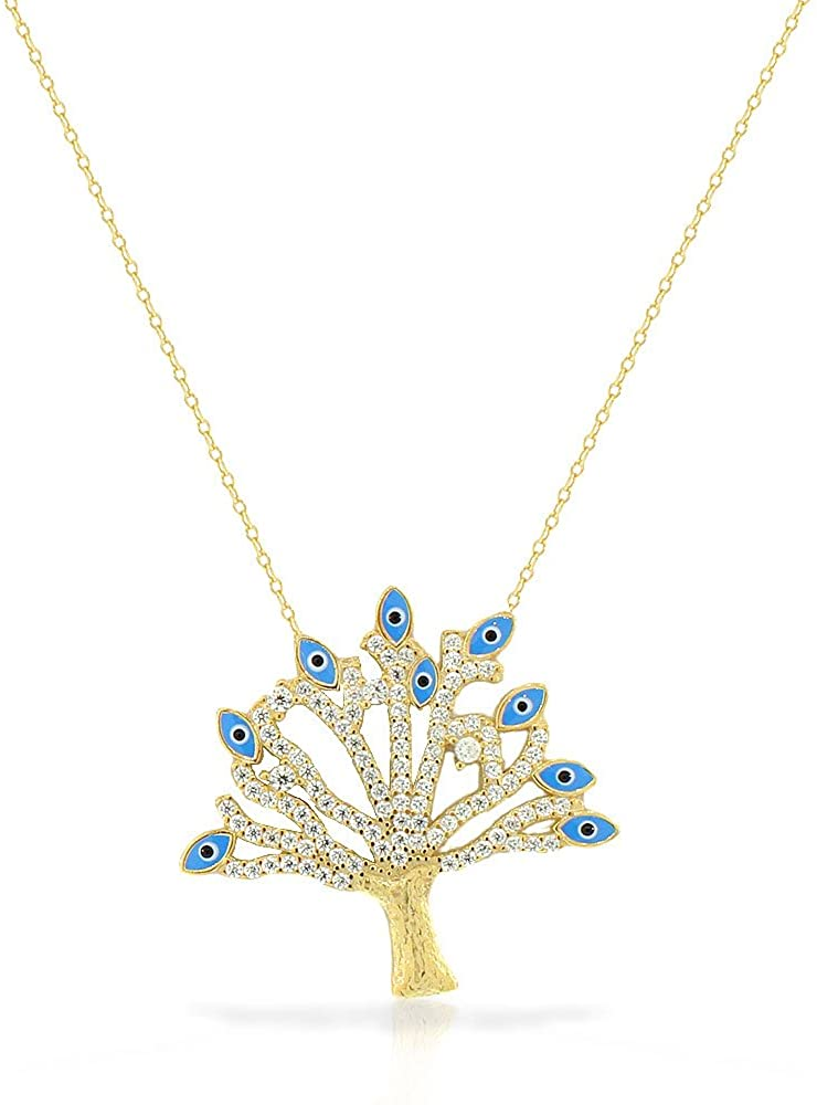 925 Sterling Silver Yellow Gold-Tone CZ Tree of Life Evil Eye Large Statement Pendant Necklace