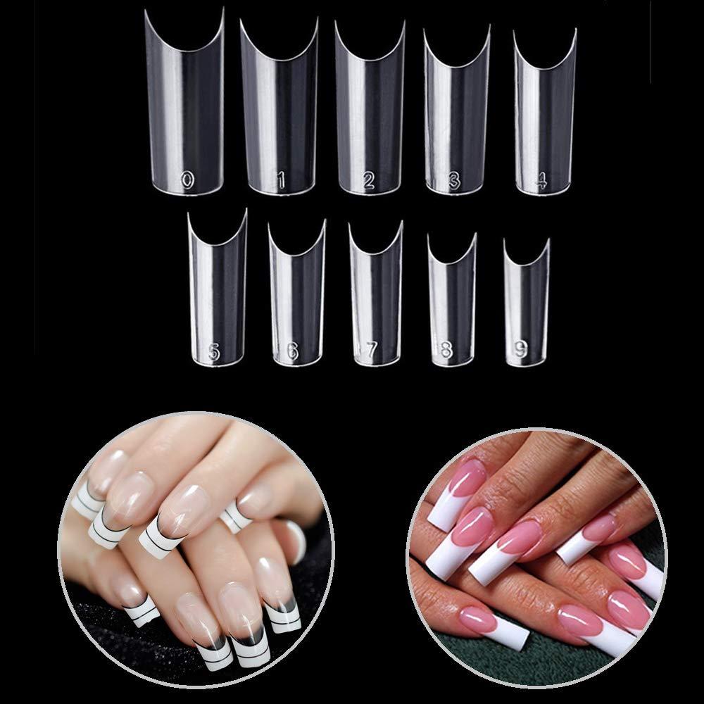 Vcedas 500Pcs C Curve Shape Clear False Nails Half Acrylic Nail Tips Flake Nail Art 10 Sizes with Bag for DIY Nail Salons
