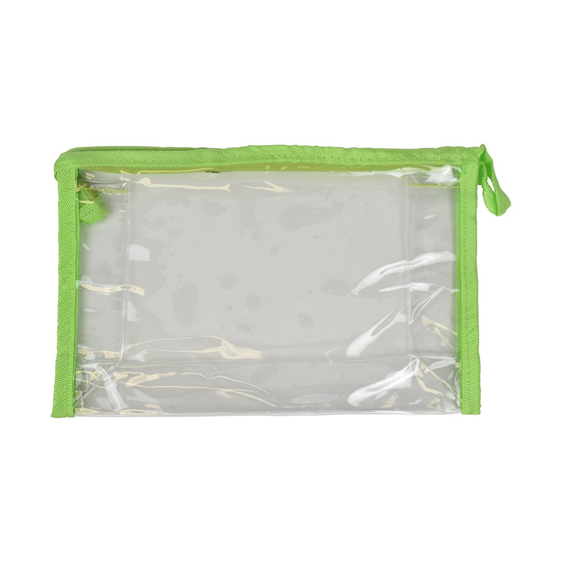 Clear Cosmetic Bag Travel Pouch Pencil Case With Green Trim