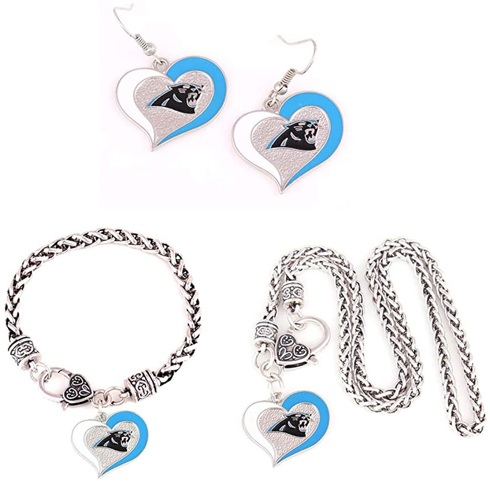 3 sets of Swirl Heart Dangle, Swirl Heart Bracelet, Swirl Heart necklace. Show your support with Team Logo.