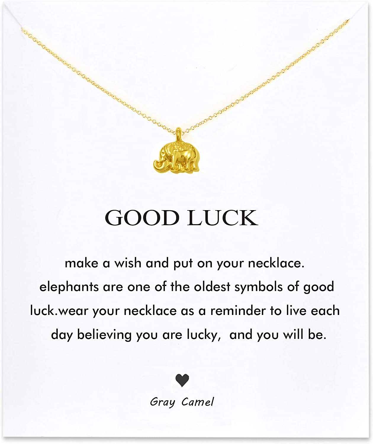 Gray Camel Friendship Clover Necklace Unicorn Good Luck Elephant Necklace with Message Card Gift Card for Women Girl