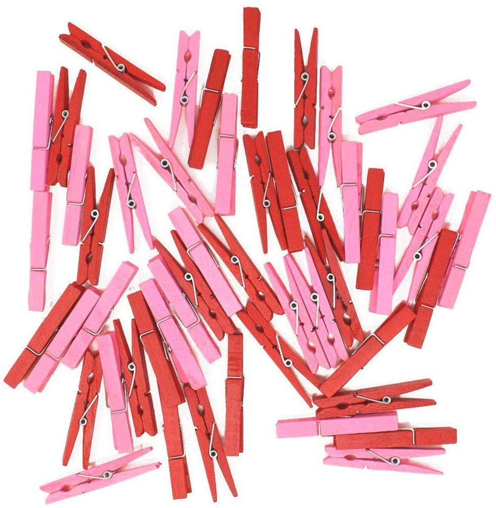 Just Artifacts 2.75-inch Craft Wood Clothespins/Peg Pins (100pcs, Red & Baby Pink)