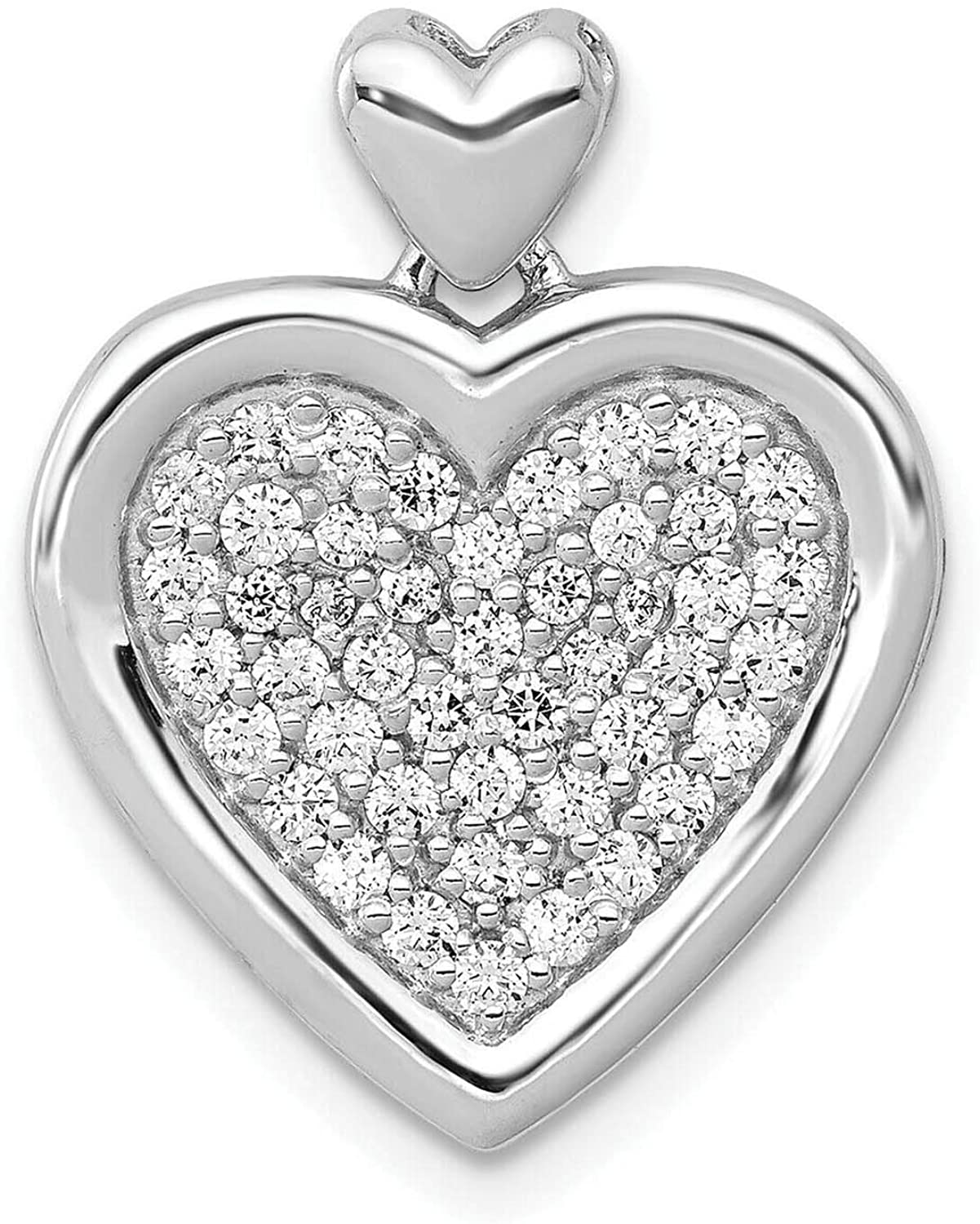 IRA 925 Sterling Silver Round Cut Simulated Diamond Engagement Wedding Heart Pendant Necklace for Womens Free 18