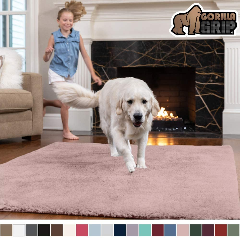 Gorilla Grip Original Faux-Chinchilla Area Rug, 3x5 Feet, Super Soft and Cozy High Pile Washable Carpet, Modern Rugs for Floor, Luxury Shag Carpets for Home, Nursery, Bed and Living Room, Dusty Rose