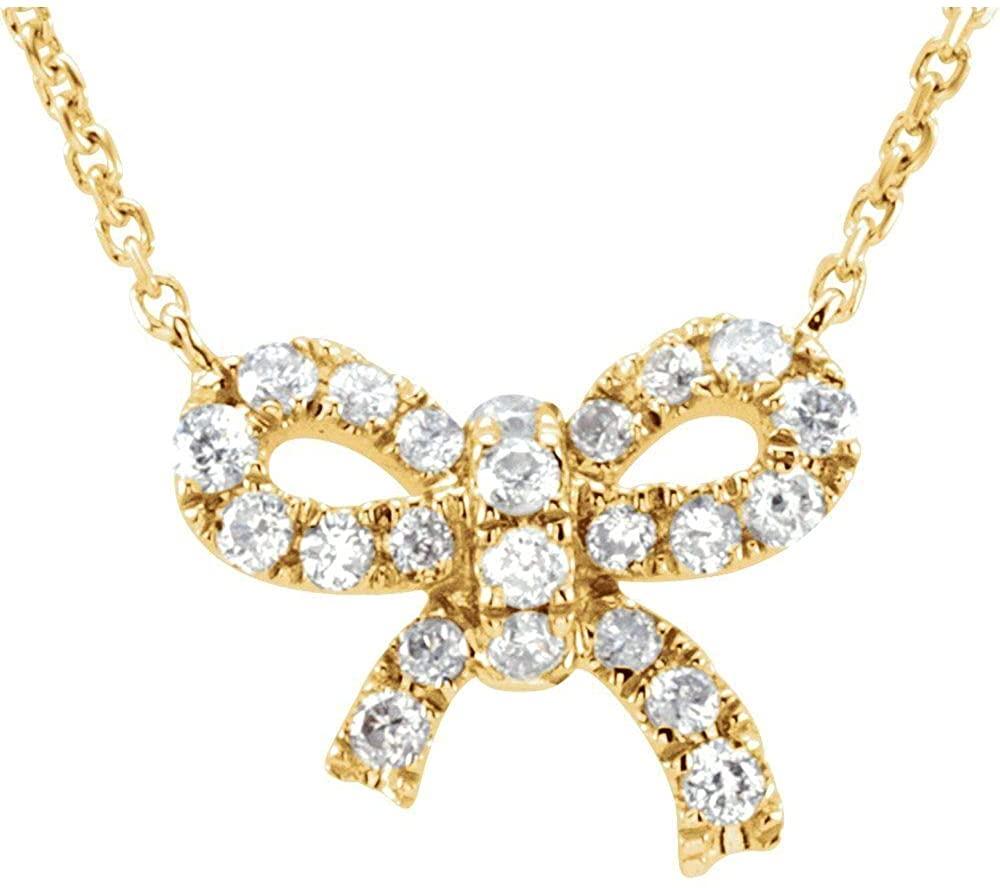 14k Yellow Gold 1/6 CTW Diamond Bow 18