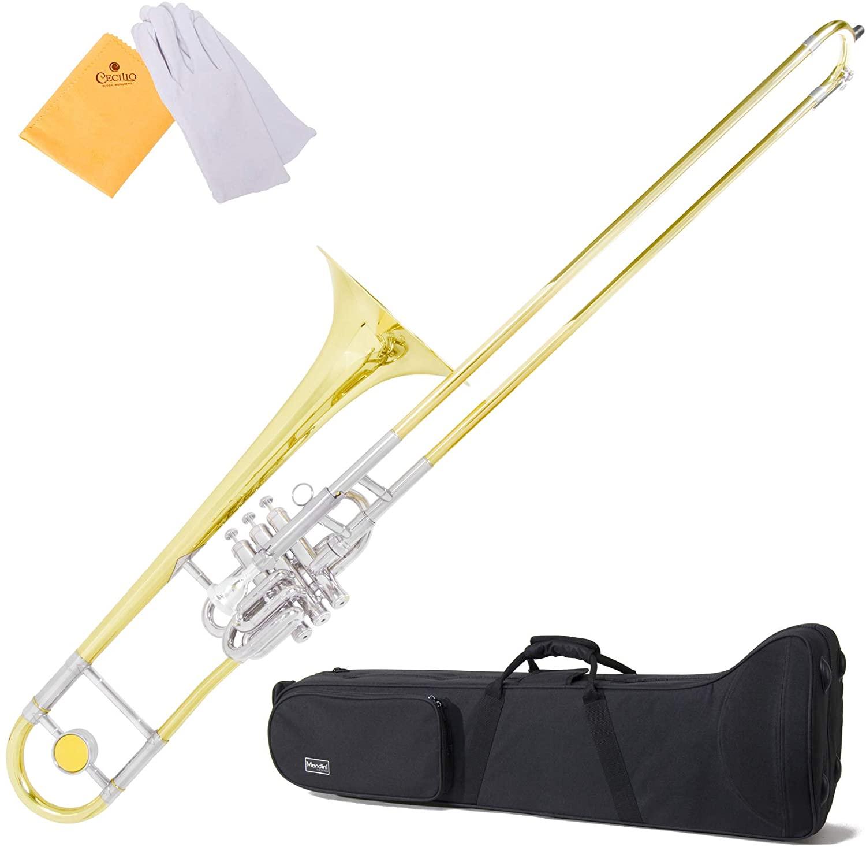 Mendini MTB-43 Intermediate B Flat Tenor Valve/Slide Combo Trombone with Monel Valves aka
