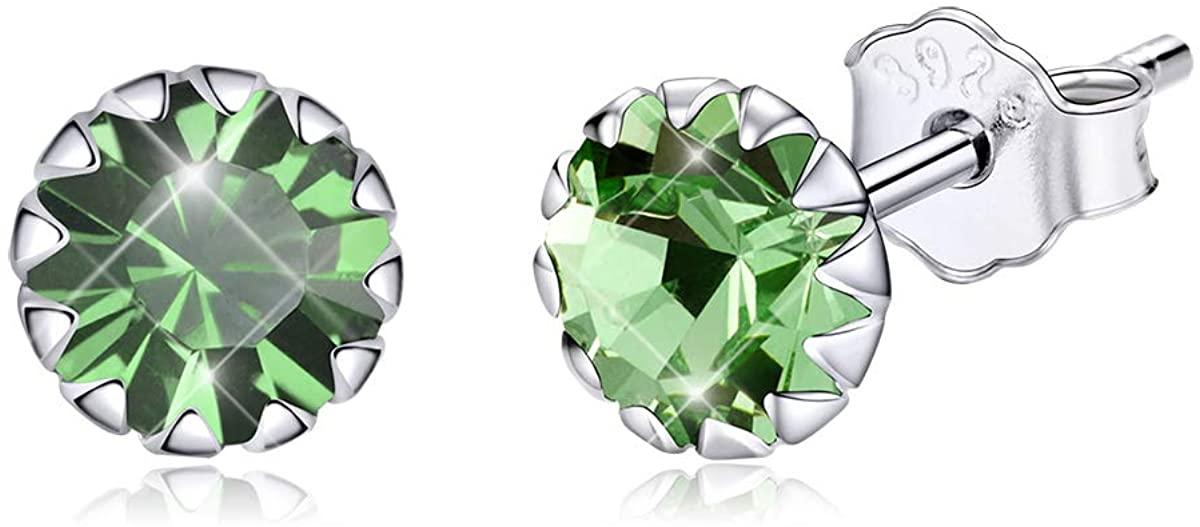 BAMOER Birthstone Stud Earrings for Girls Hypoallergenic 925 Sterling Silver Cubic Zirconia Earrings for Women