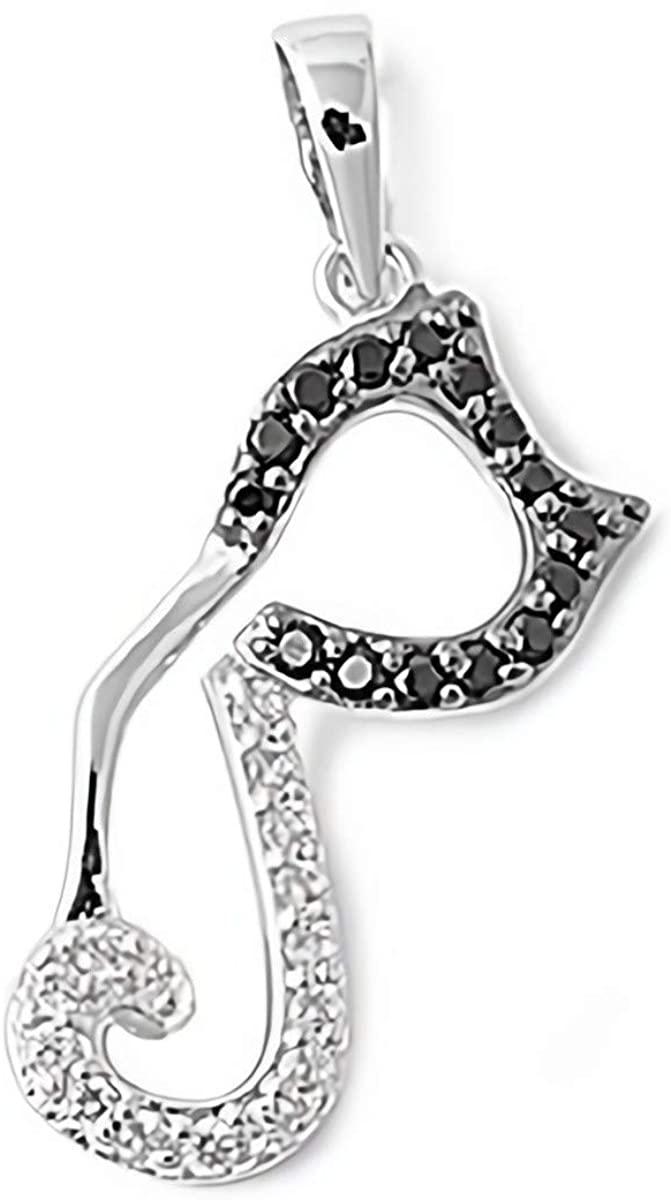 Glitzs Jewels 925 Sterling Silver Cubic Zirconia CZ Necklace Pendant (Cat) (Clear & Black)
