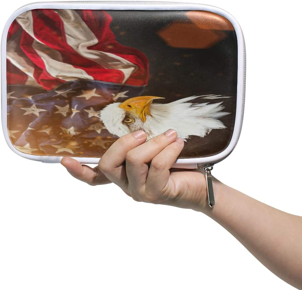 Leather Large North American Bald Eagle USA Flag Pen Pencil Case Bags Pouch Toiletry Makeup Cosmetic Bag Coin Purse Zipper for Student Boys Girls Adults