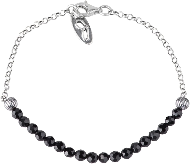 American West Sterling Silver and Black Spinel Gemstone Jennifer Nettles Bead Bracelet Size S, M or L