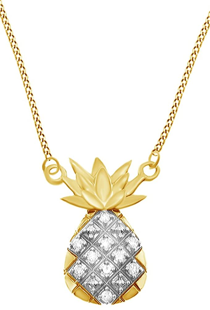 Jewel Zone US 10k Solid Gold White Natural Diamond Pineapple Pendant Necklace (0.1 Cttw)