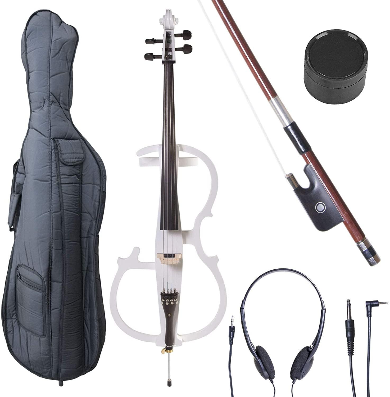 Cecilio CECO-2WH Ebony Electric Silent Pearl White Cello in Style 2, Size 4/4 (Full Size)