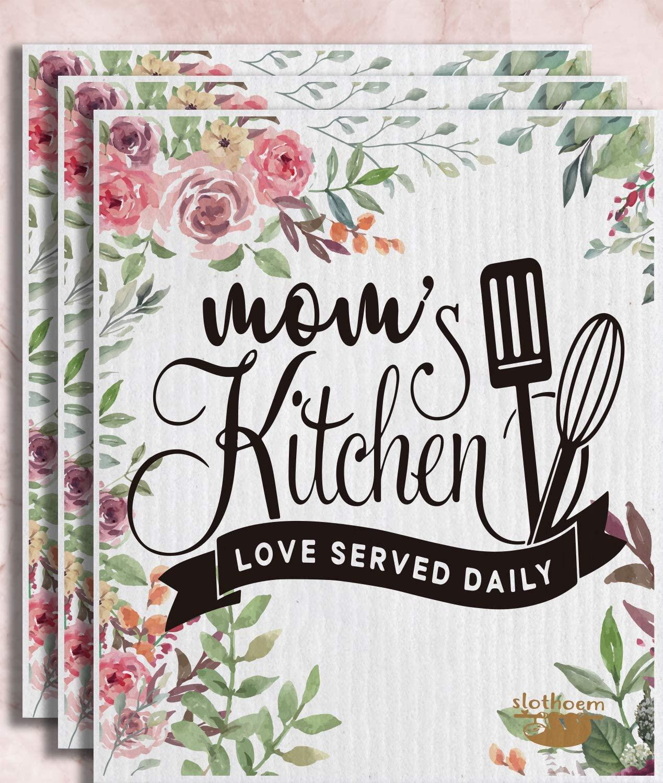 Swedish Dishcloth Kitchen Sponge Dish Cloths Towels Pack of 3 - Mom's Kitchen.