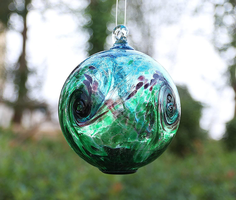 Artisan Crafts and Design 6-Inch Solar Hanging Glass Gazing Ball Outdoor Garden Décor Aqua-Green Swirl