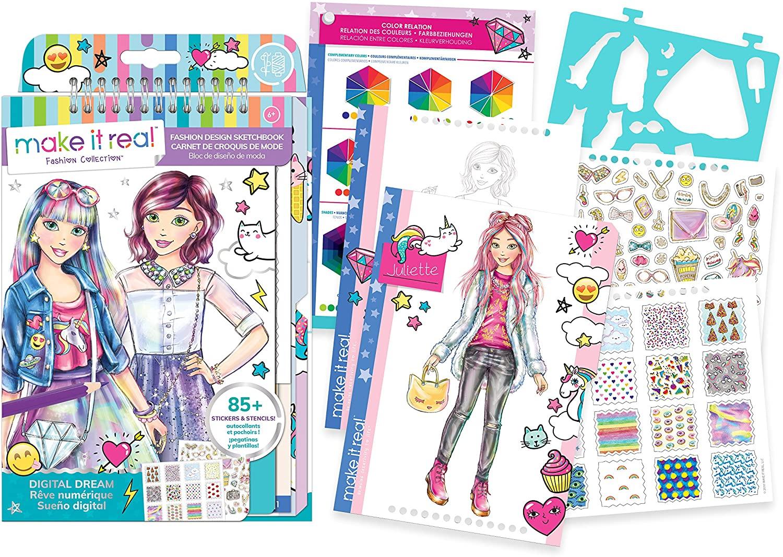 Make It Real - Fashion Design Sketchbook: Digital Dream. Inspirational Fashion Design Coloring Book for Girls. Includes Sketchbook, Stencils, Puffy Stickers, Foil Stickers, and Fashion Design Guide