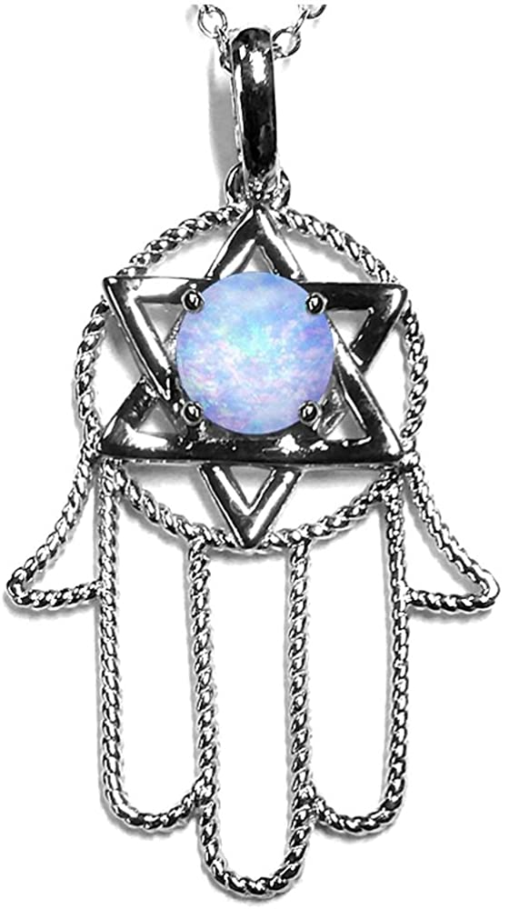 Star K Solid 10k White Gold Large Hamsa Hand Jewish Star of David Pendant Necklace