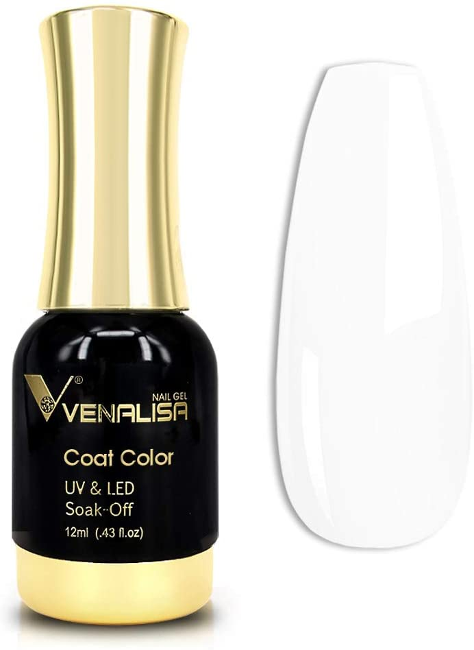 VENALISA Gel Nail Polish, 12ml Pure White Color Soak Off UV LED Nail Gel Polish Nail Art Starter Manicure Salon DIY at Home, 0.43 OZ