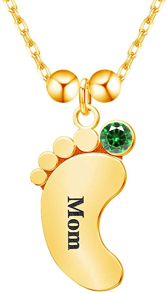 EVER2000 Personalized Mothers Necklace with 1/2/3/4/5 Child Name Engraved Baby Feet Pendant Necklace with Birthstones Customized Name Necklace Jewelry Gift for Mom/Mother