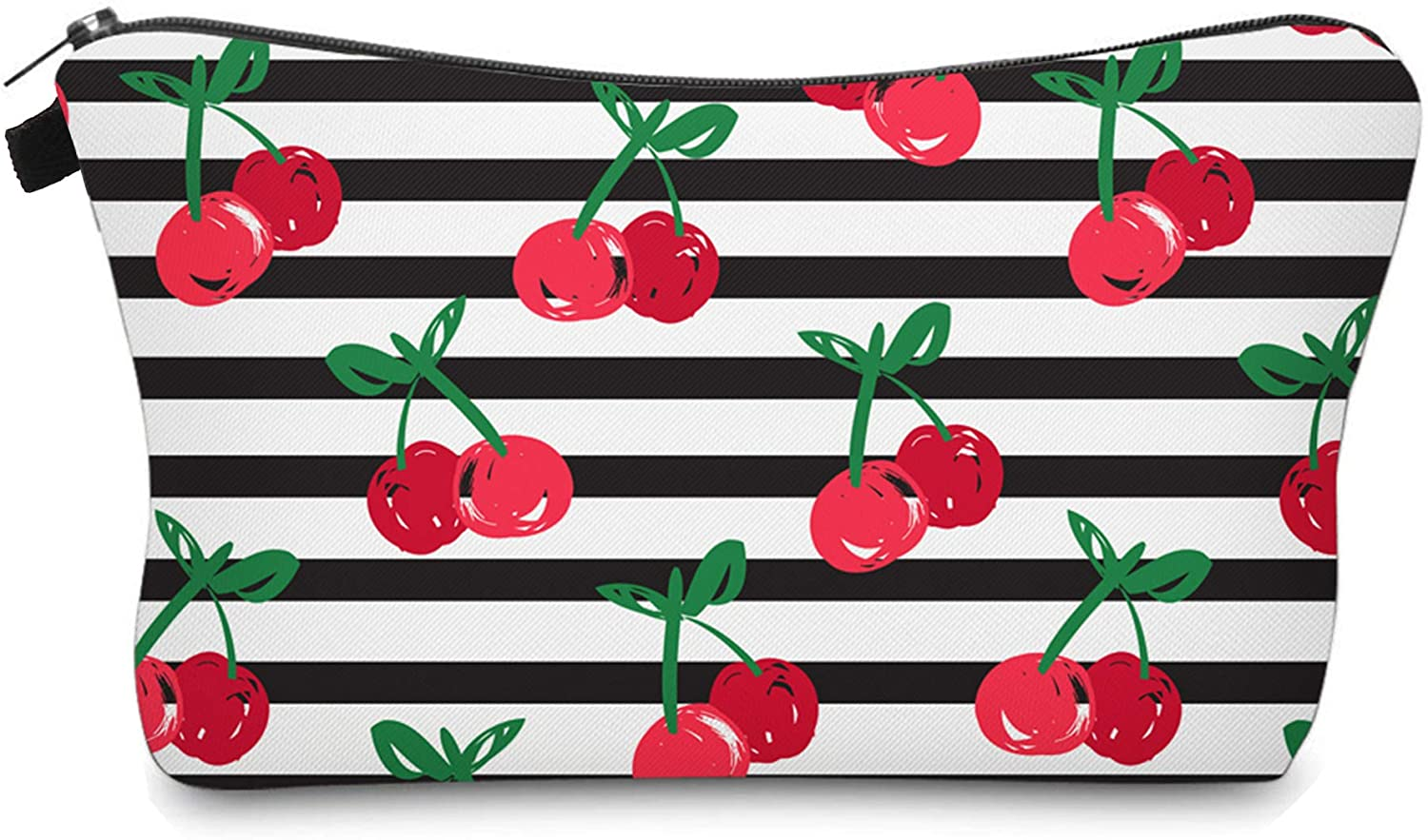 Cute Travel Makeup Bag Cosmetic Bag Small Pouch Gift for Women (Stripes Cherry)