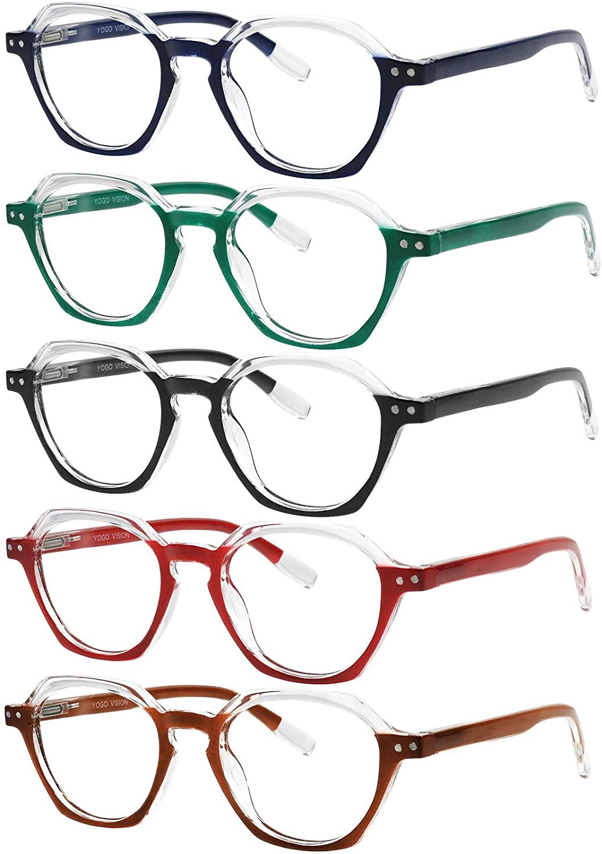 Yogo Vision Reading Glasses 5 Pack Comfort Spring Hinge Stylish Fashion Women Readers
