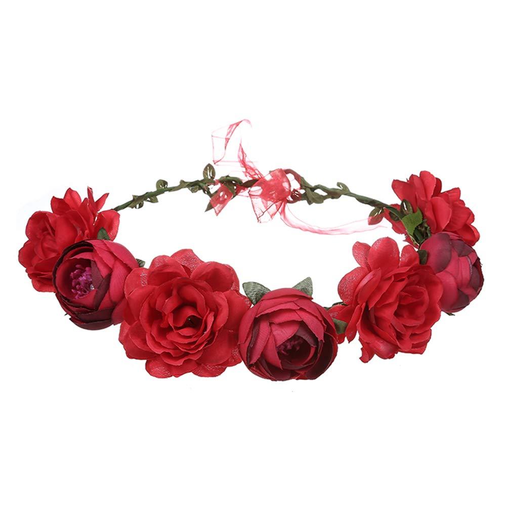 Fall Handmade Moana Flower Heandband Crown for Toddler Baby Girls or Dog Photoshoot and Halloween Cosplay Garland Wreath