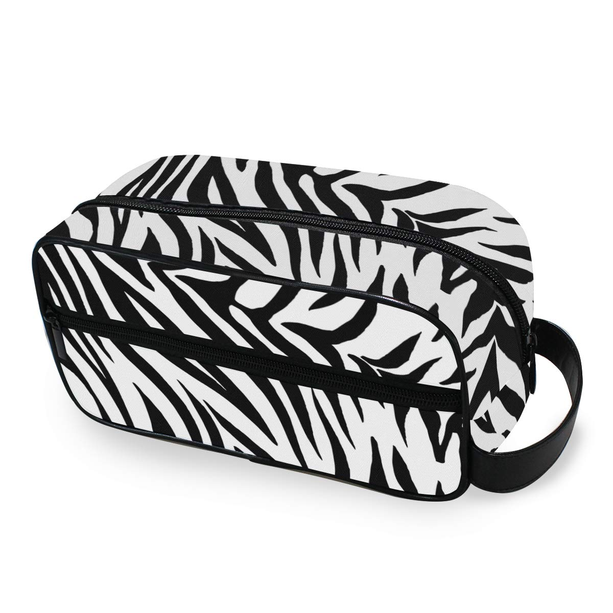 JOYPRINT Portable Travel Makeup Bag, Zebra Animal Print Pattern Cosmetic Bag Toiletry Bag Pouch with Zipper Multifunction Cosmetic Case for Women Girls
