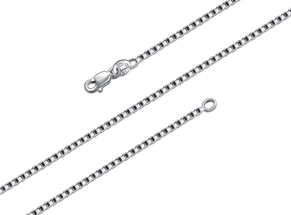 925 Sterling Silver Box Chain Necklace, BORUO 1mm 1.5mm Solid Italian Nickel-Free Lobster Claw Clasp 14-30 Inch