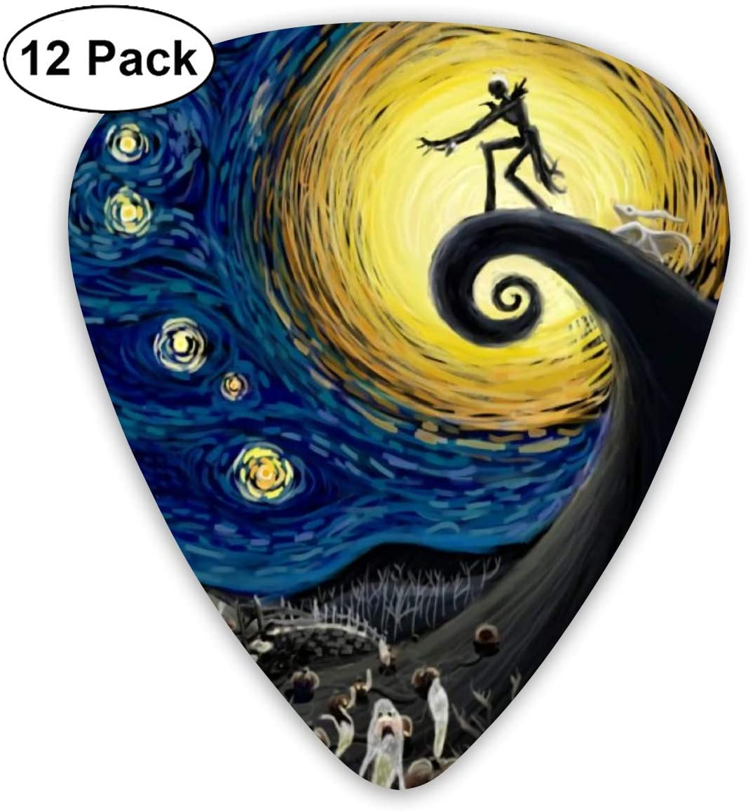 Guitar Picks nightmare before christmas Guitar Plectrums for Electric Guitar Acoustic Guitar Mandolin and Bass(12 Pack Includes Thin Medium Heavy Gauges)