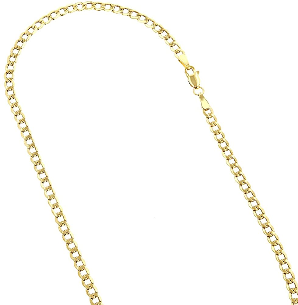 IcedTime 10K Yellow Gold Hollow Italy Cuban Curb Chain Necklace with Lobster Clasp 5.5mm Wide
