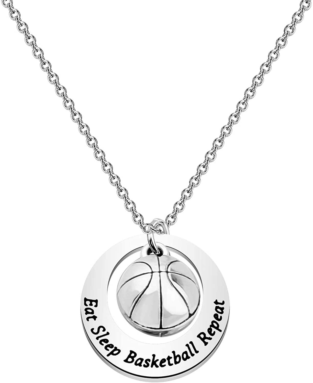 Basketball Necklace Eat Sleep Basketball Repeat Basketball Charm Necklace Basketball Gifts for Girls Basketball Lover Gift
