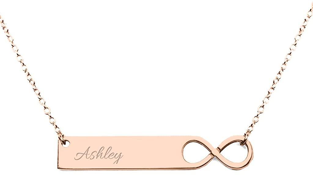 10K Gold Personalized Infinity Stylized Name Bar Pendant by JEWLR