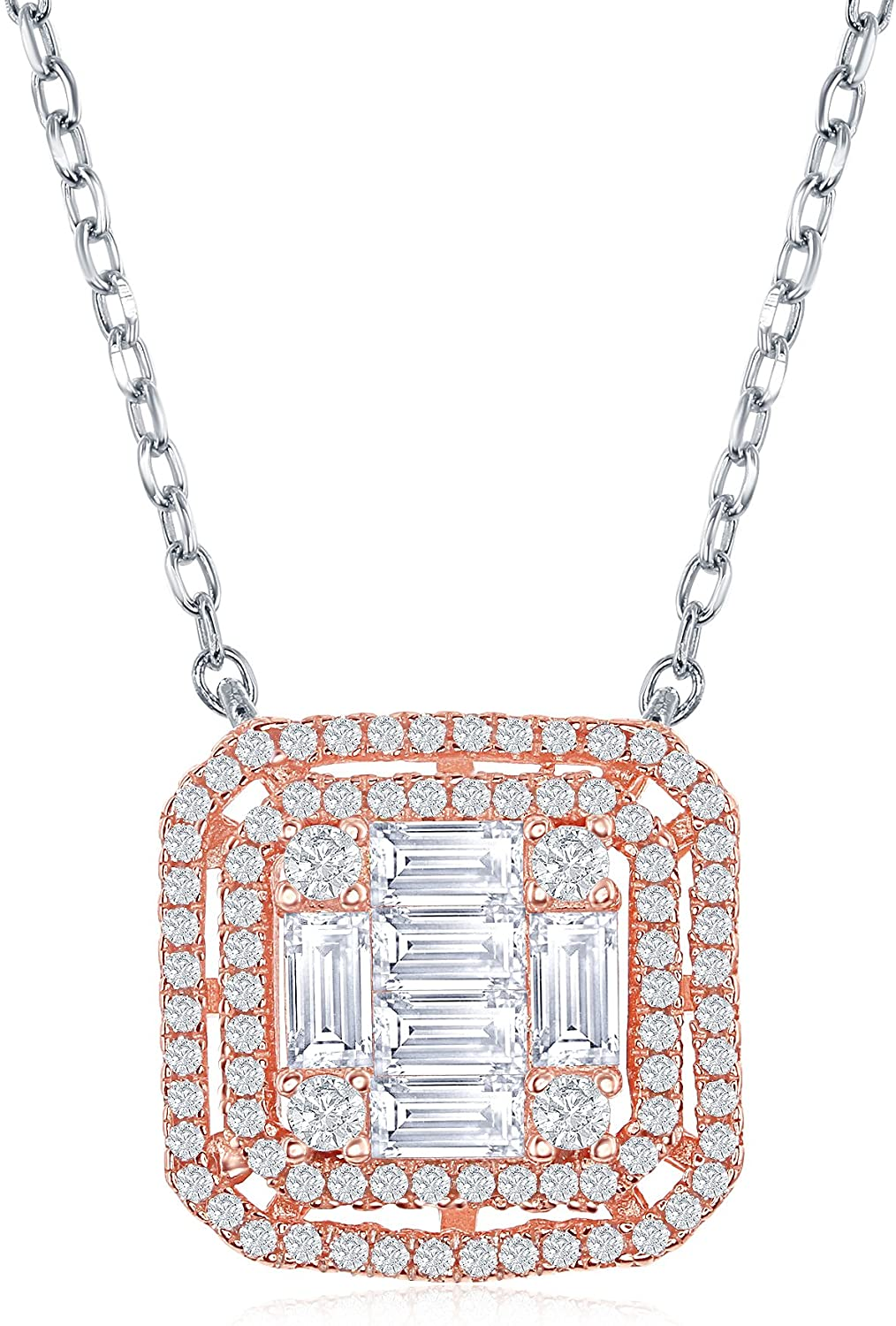 Sterling Silver and Rose Tone Baguette Micro Pave Cubic Zirconia Square 16+2 Necklace