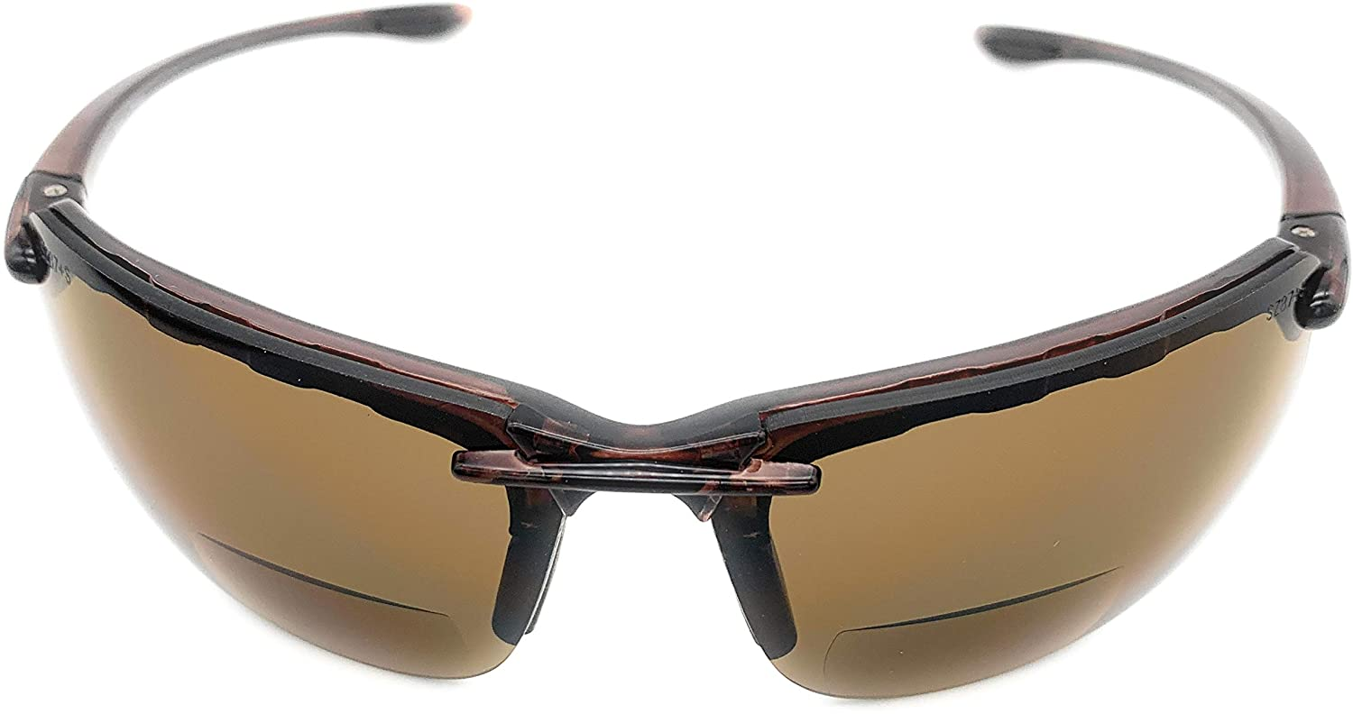 The Oakland Bifocal Sun Reader Sport and Wrap Around Reading Sunglasses, Unisex Rimless Safety Readers for Men and Women, Brown + 1.50