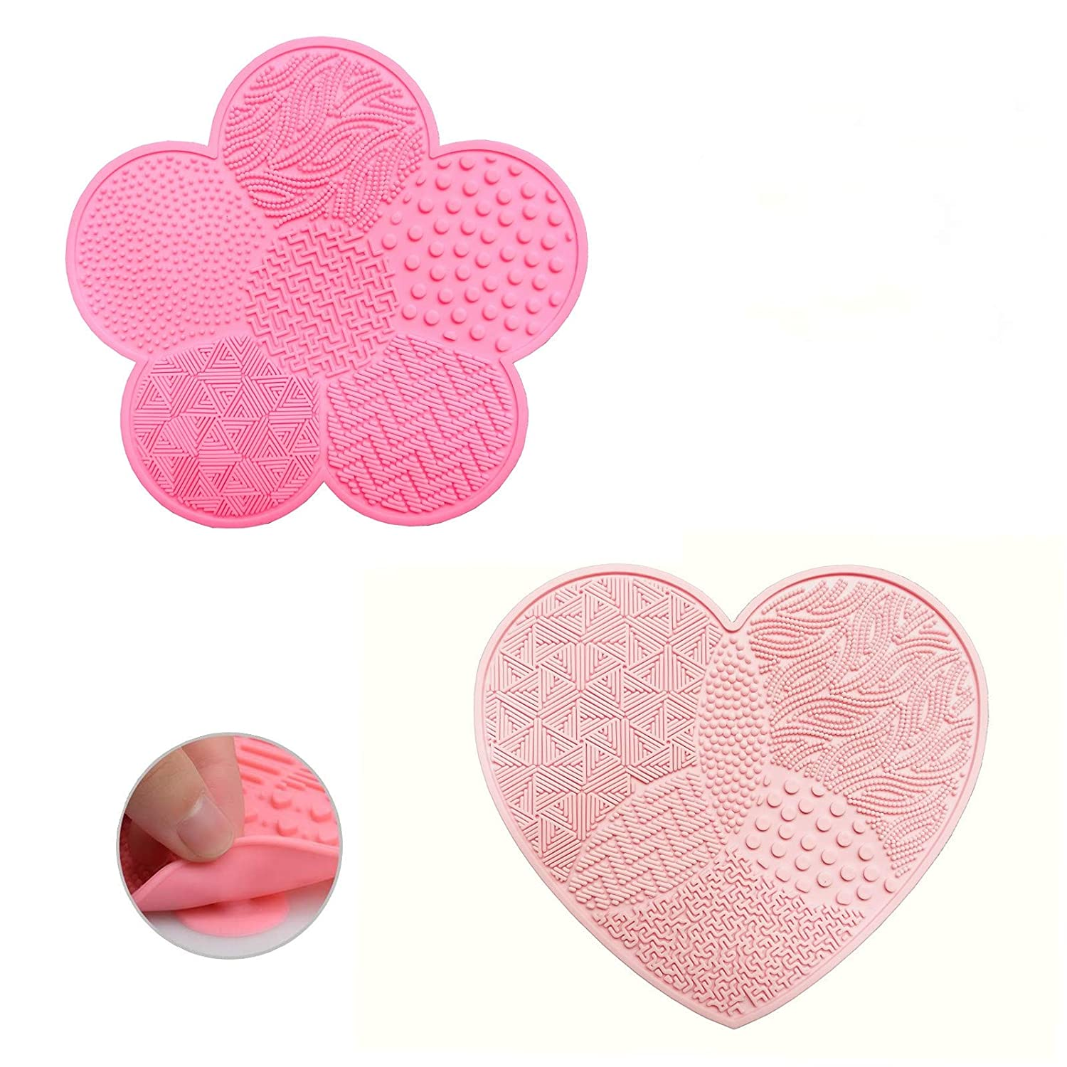 Silicone Makeup Brush Cleaner Cosmetic Brush Cleaning Mat 2 PCS Portable Washing Tool Scrubber Makeup Brush Cleaning Pad with Suction Cup,1 pink heart shaped and 1 rose red flower shaped