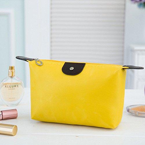 AKOAK Multi-functional Waterproof Nylon Cosmetic Bag Storage Makeup Bag Casual Purse Cosmetic Case Portable Travel Bags Wash Gargle Bag Dumplings Bag (Yellow)