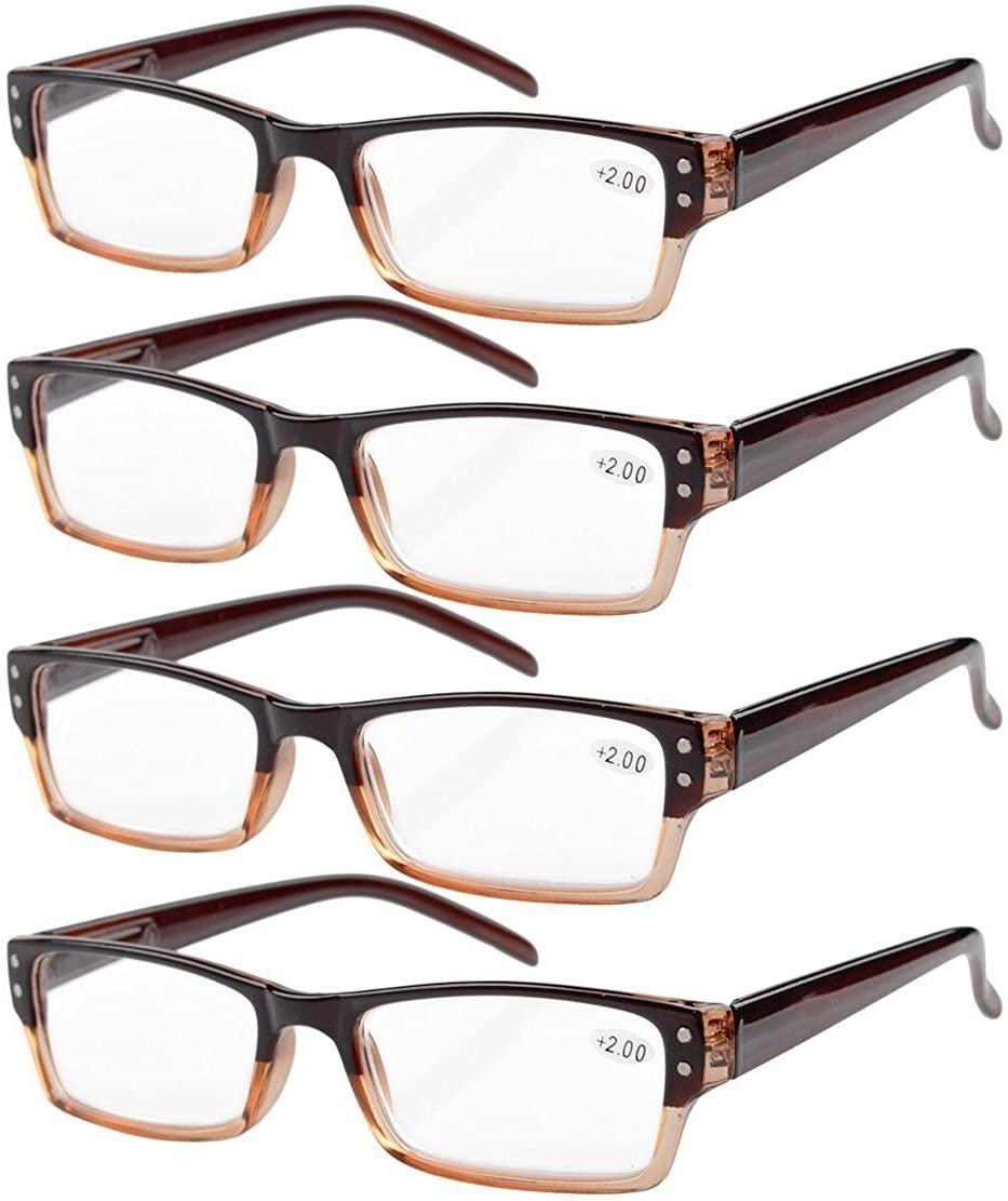 Eyekepper Reading Glasses-4 Pack Brown-Clear Frame for Women Men Reading,Two-Tone +1.00 Reader Eyeglasses