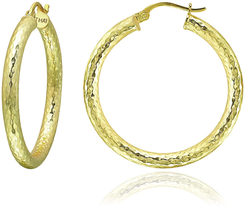 Sterling Silver 3mm Diamond-Cut Round Hoop Earrings, 15mm-50mm