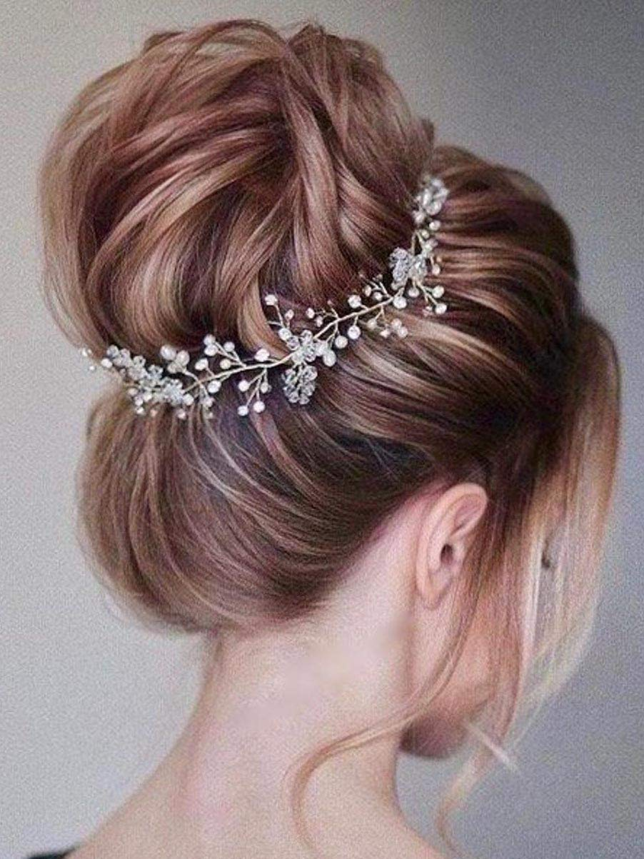 Unsutuo Pearl Wedding Hair Vine Silver Crystal Bridal Hair Accessories Bride Headpieces for Women and Girls (Gold)
