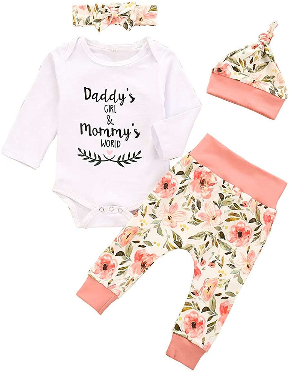 MTSLYH Baby Girl Daddys Girl Mommys World Romper+Floral Pants+Bow Headband+Hat Outfit