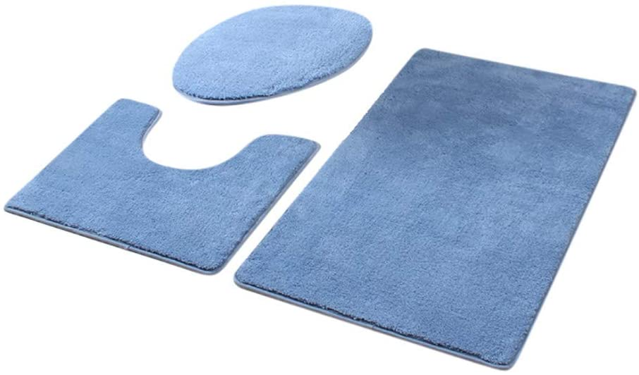 MOMFEI Bathroom Rugs and Mats Sets, Ultra Soft Chenille Microfiber, Absorbent Non-Slip Machine Washable Shaggy Rugs, Super Plush Bath Mat for Bathroom (20x15.7inch, 3pcs-G)