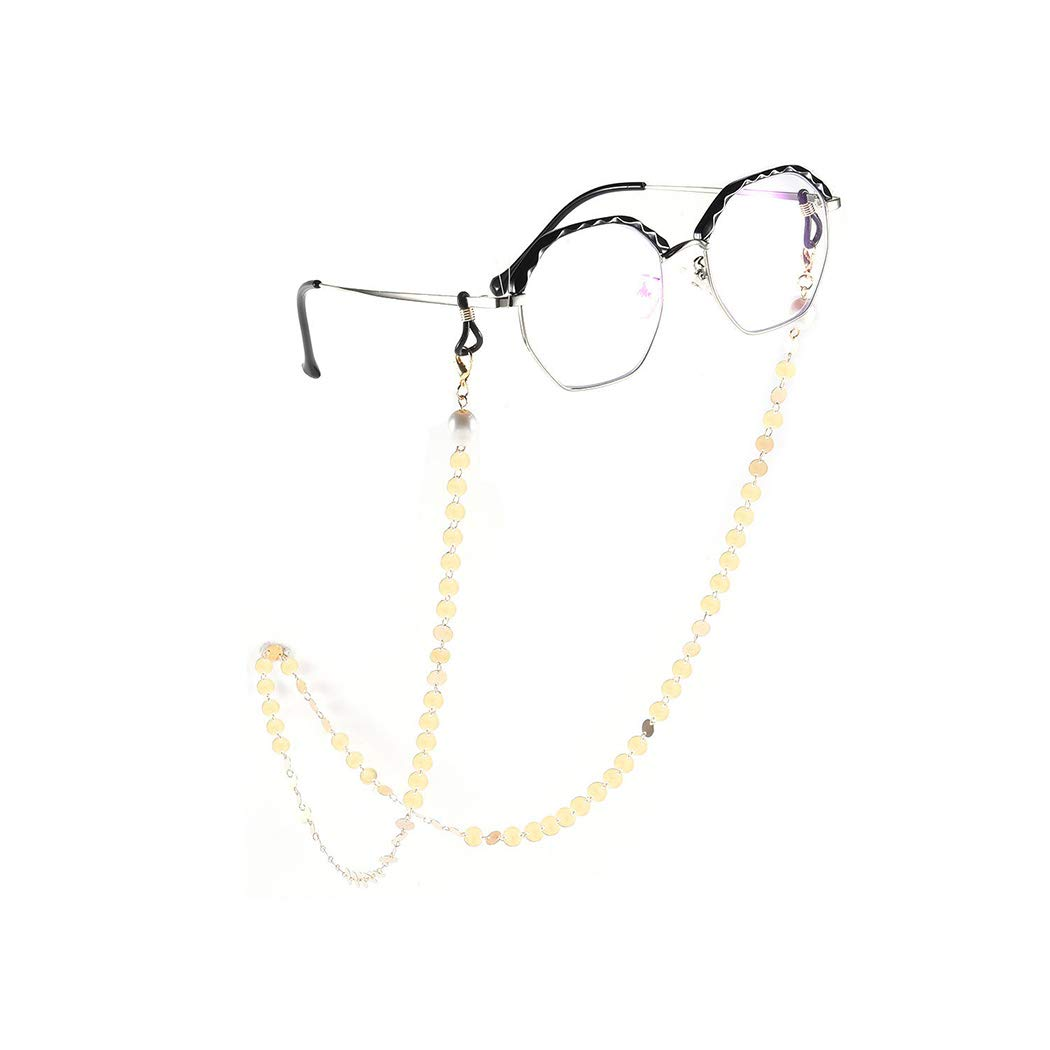 YienDoo Bohemia Womens Eyeglass Chains with Pearls and Sequins Eyeglass Accessories Eyewear Retainer - Eyeglass Strap Holder - Sunglass Retainer Strap (Gold)