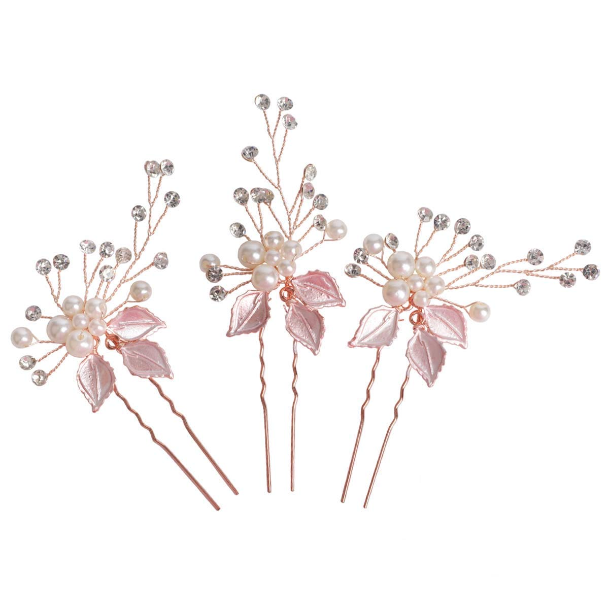 Sppry Wedding Hair Pins (3 Pcs) - Elegant Pearl Leaf Crystal Hair Accessories for Bridal Women (Rose Gold)