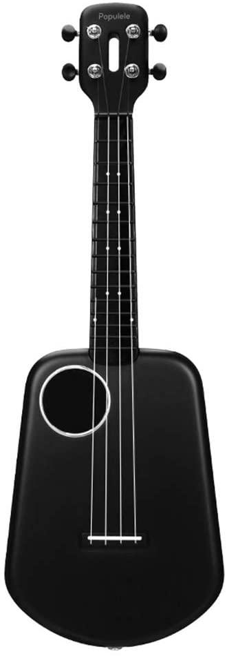 Smart Ukulele Beginner Carbon Fiber Small Guitar with Bluetooth Concert Soprano Ukulele (Black)