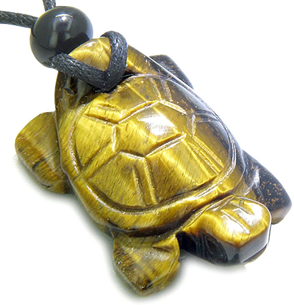 BestAmulets Amulet Lucky Charm Turtle Tiger Eye Healing and Protection Powers Pendant Necklace