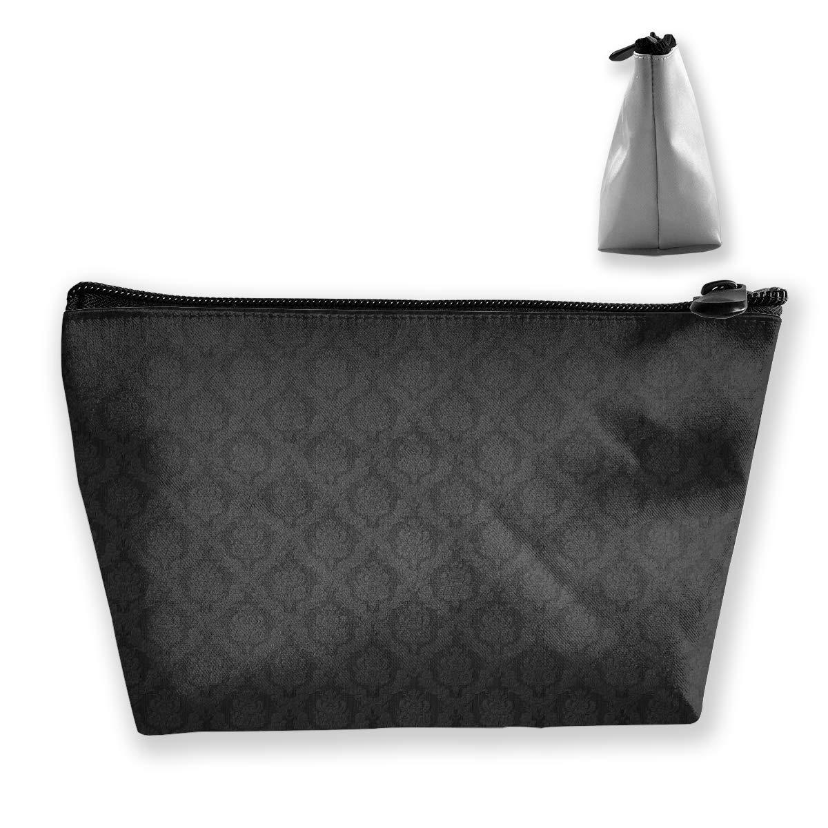 Lightweight Multi-Purpose Zipper Trapezoidal Storage Bag Organizer Pouch Small Cosmetic Makeup Bag Coin Cellphone Purse Pencil Pouch (Black Elegant Ornaments Texture)