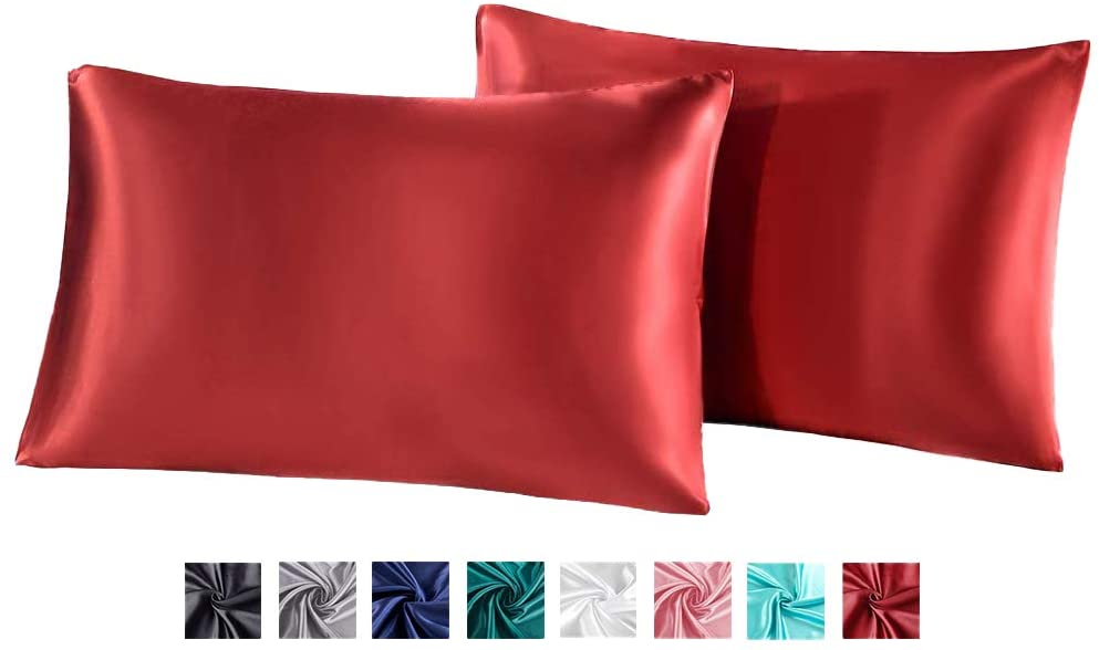 Miruxia 2-Pack Satin Pillowcases for Hair and Skin,Satin Pillow Covers with Envelope Closure(Red,Queen Size20 x30 Inches)