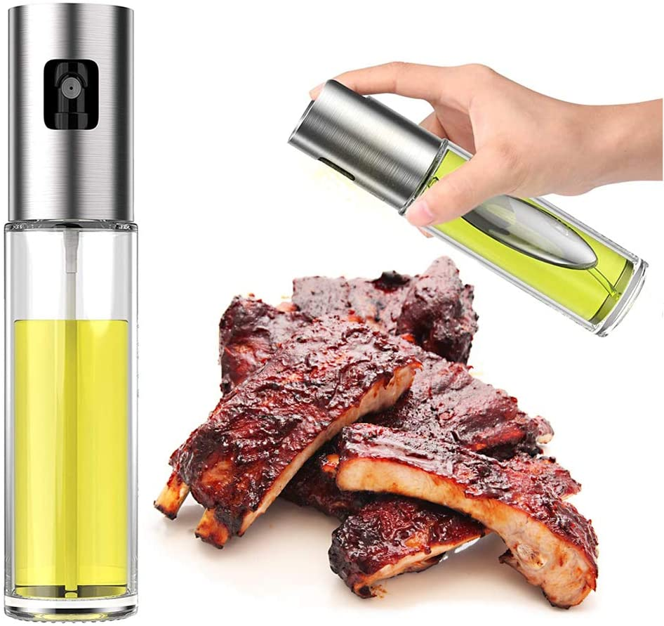 olive oil dispenser bottle, Oil Sprayer for cooking, Stainless Steel Refillable Oil Misters, Versatile Glass Spray Oil Bottle with oil Funnel, for Cooking, BBQ, Baking, Roasting, Grilling, Making