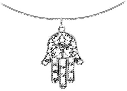 Body Candy Ancient Hamsa Hand Pendant Choker Necklace, 17.5