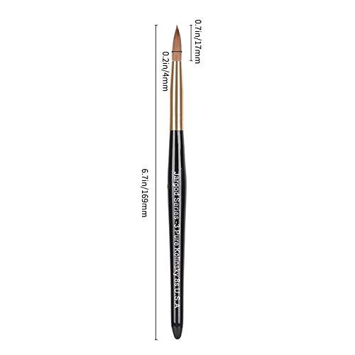 JARGOD USA Acrylic Nail Brush 100% Pure Kolinsky Hair black wood handle with Golden Ferrule Round Shaped (Size # 8)